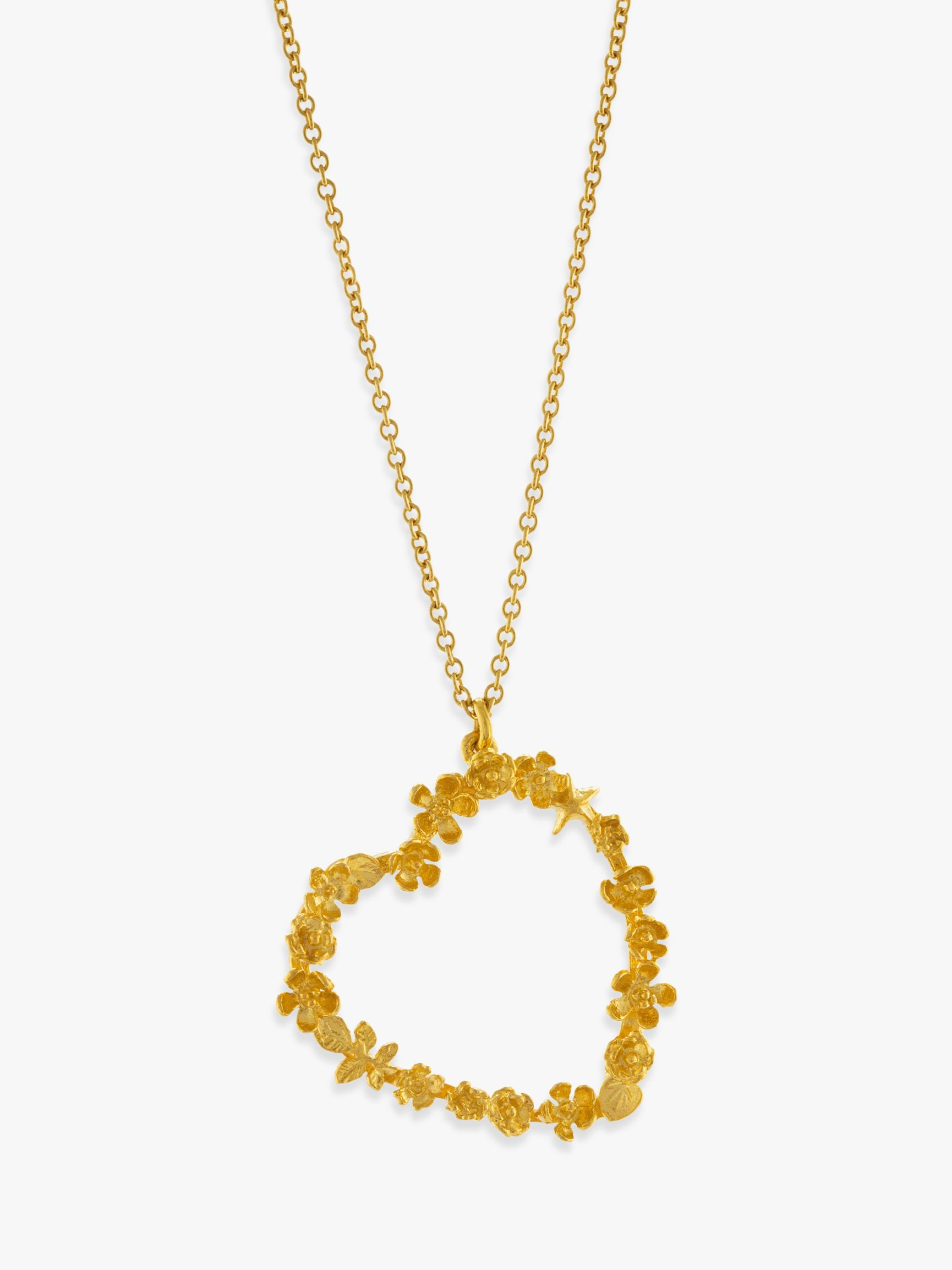 Alex Monroe Alex Monroe 22ct Gold Plated Sterling Silver Floral Heart Pendant Necklace, Gold
