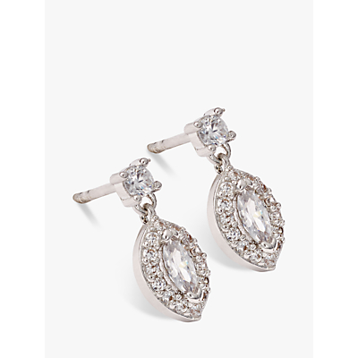 Image of Ivory & Co. Parisian Oval Cubic Zirconia Earrings, Silver