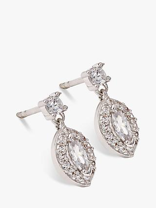 Ivory & Co. Parisian Oval Cubic Zirconia Earrings, Silver