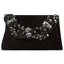 Buy Dune Bathilda Embellished Suede Clutch Bag, Black Online at johnlewis.com