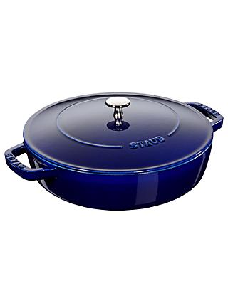 STAUB Round Cast Iron Saute Pan with Chistera Lid, 24cm