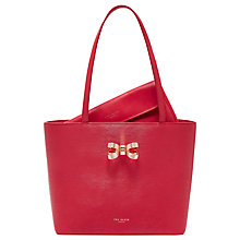 Buy Ted Baker Bowdai Leather Small Shopper Bag, Deep Pink Online at johnlewis.com