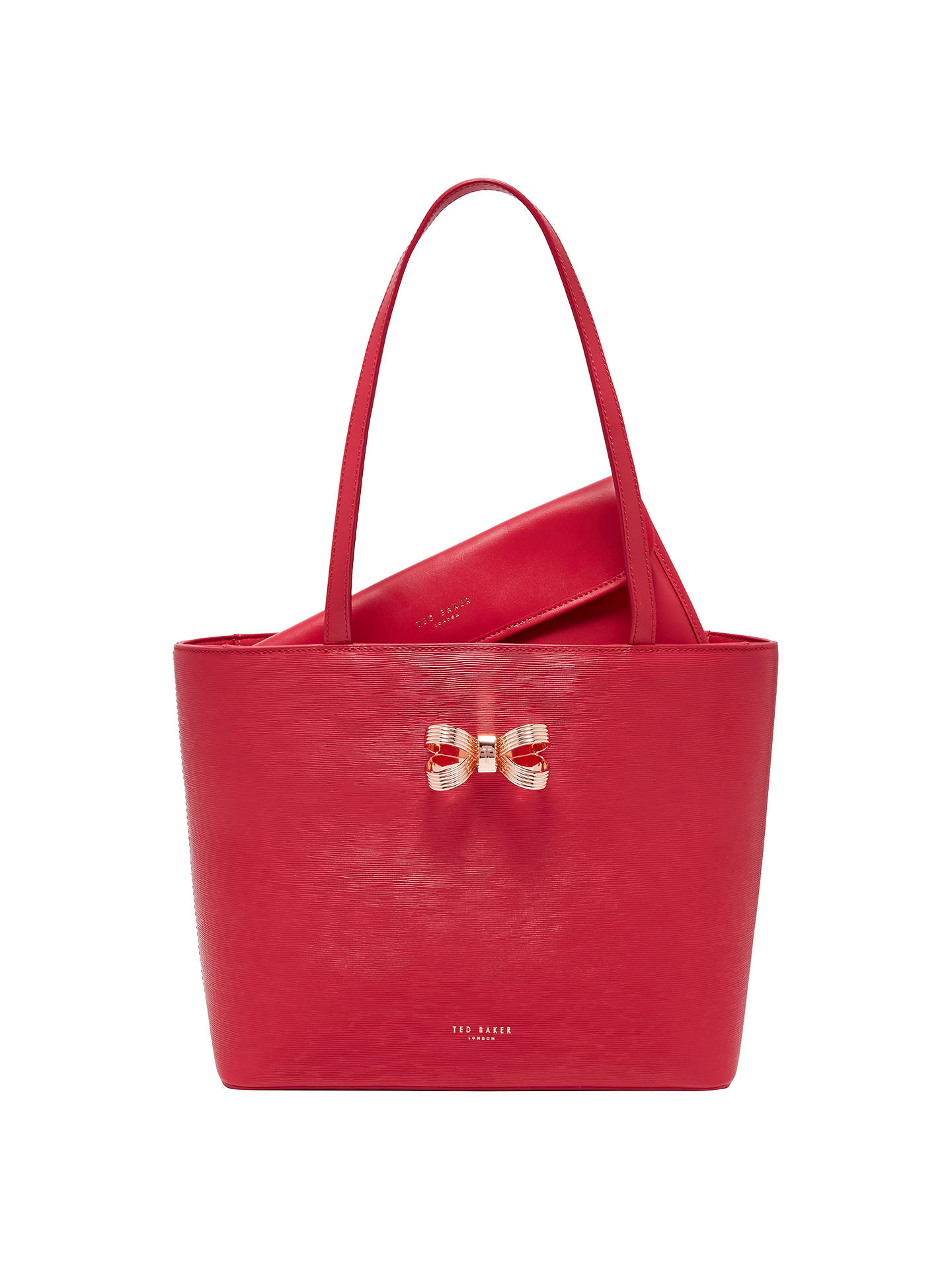 Ted Baker Bowdai Leather Small Per Bag Deep Pink Online At Johnlewis