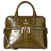 Buy Modalu Pippa Leather Chained Cross Body Bag, Khaki Croc Online at johnlewis.com
