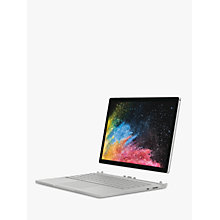 "Buy Microsoft Surface Book 2, Intel Core i7, 8GB RAM, 256GB SSD, 13.5"", PixelSense Display, Silver Online at johnlewis.com"