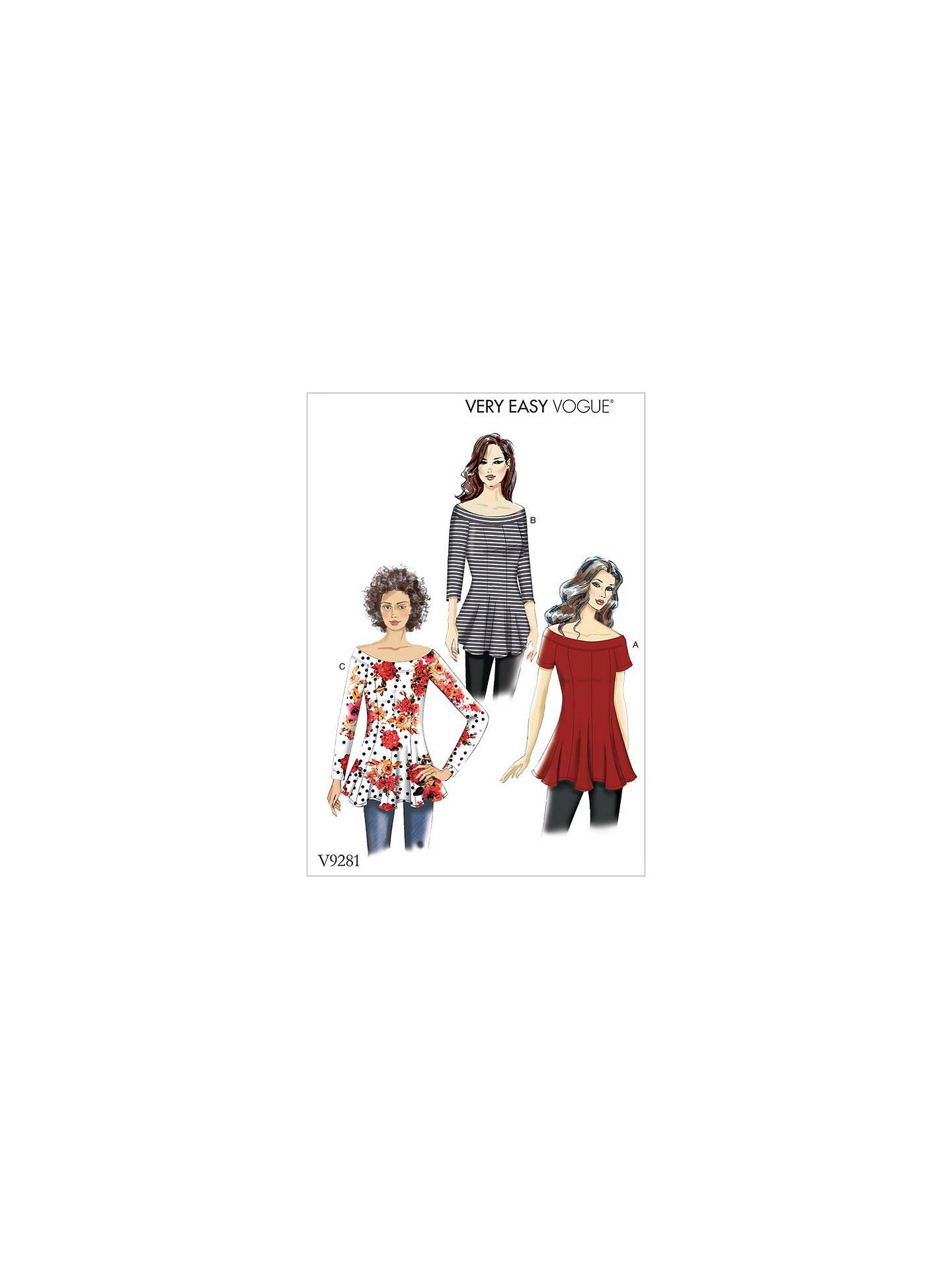 58629ba35e0da2 Buy Vogue Women's Off Shoulder Tops Sewing Pattern, 9281, E5 Online at  johnlewis.