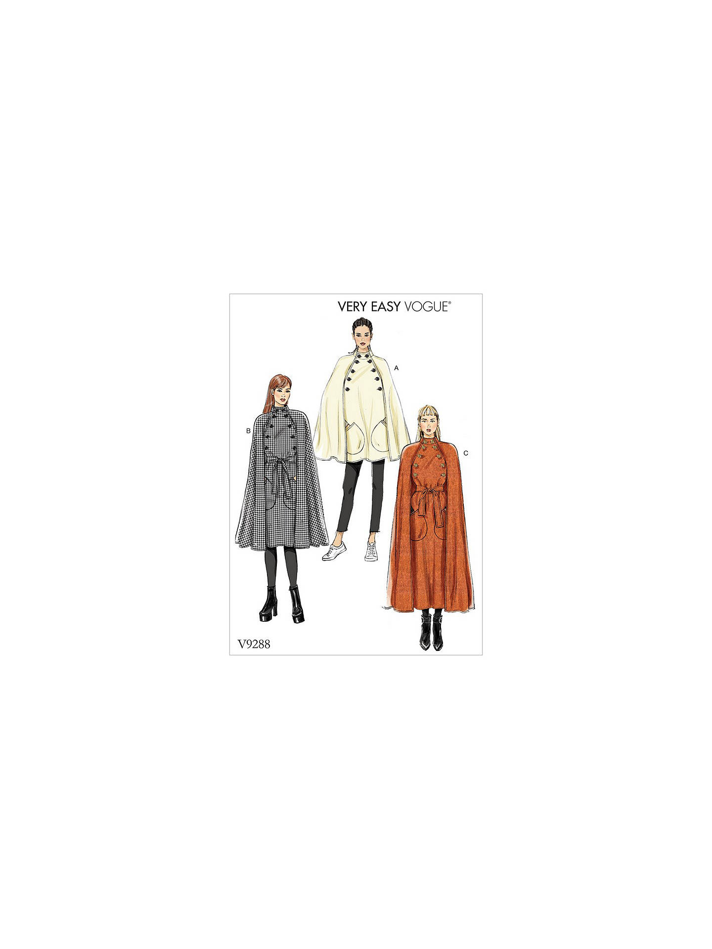 Vogue Women\'s Capes Sewing Pattern, 9288 at John Lewis & Partners