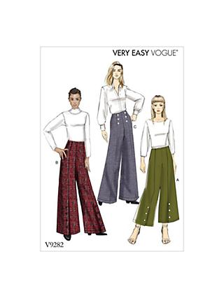 Vogue Women's Misses' High Waist Trousers Sewing Pattern, 9282