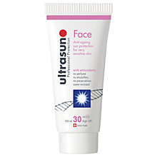 Buy Ultrasun SPF 30 Anti-Ageing Very Sensitive Facial Sun Cream, 100ml Online at johnlewis.com