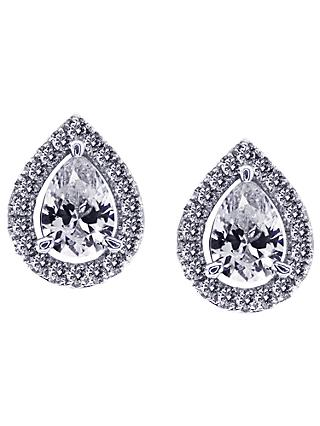 CARAT* London Pear Sterling Silver Stud Earrings, Silver