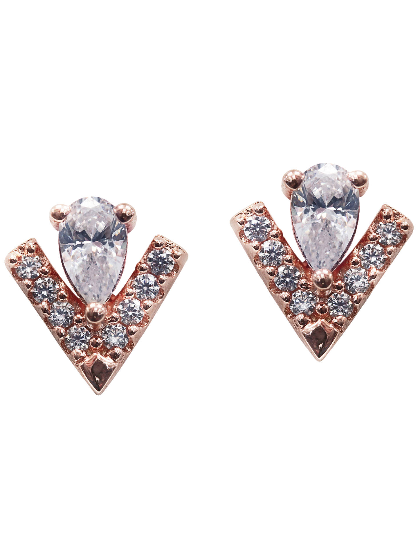 BuyCARAT* London Victoria Pear Cut Stud Earrings, Rose Gold Online at johnlewis.com