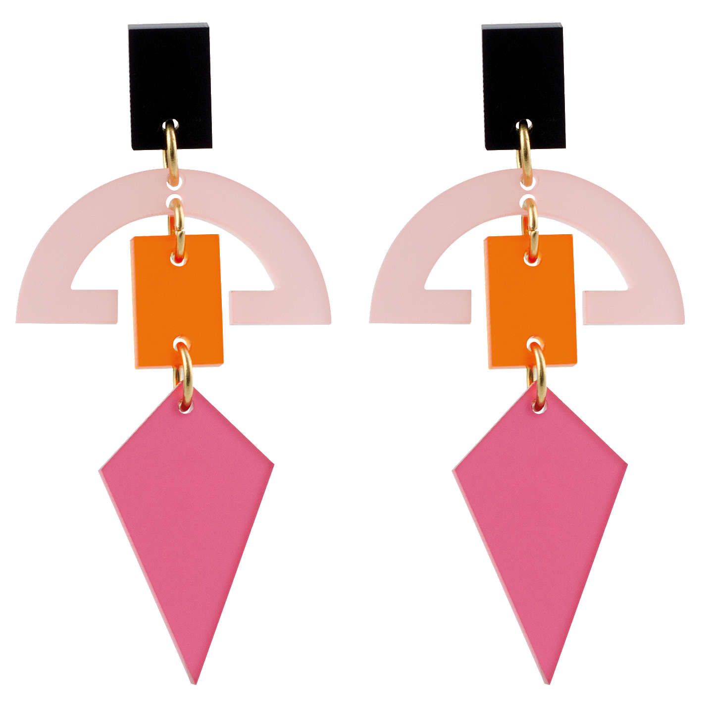 BuyToolally Half Moon Drop Earrings, Raspberry/Multi Online at johnlewis.com