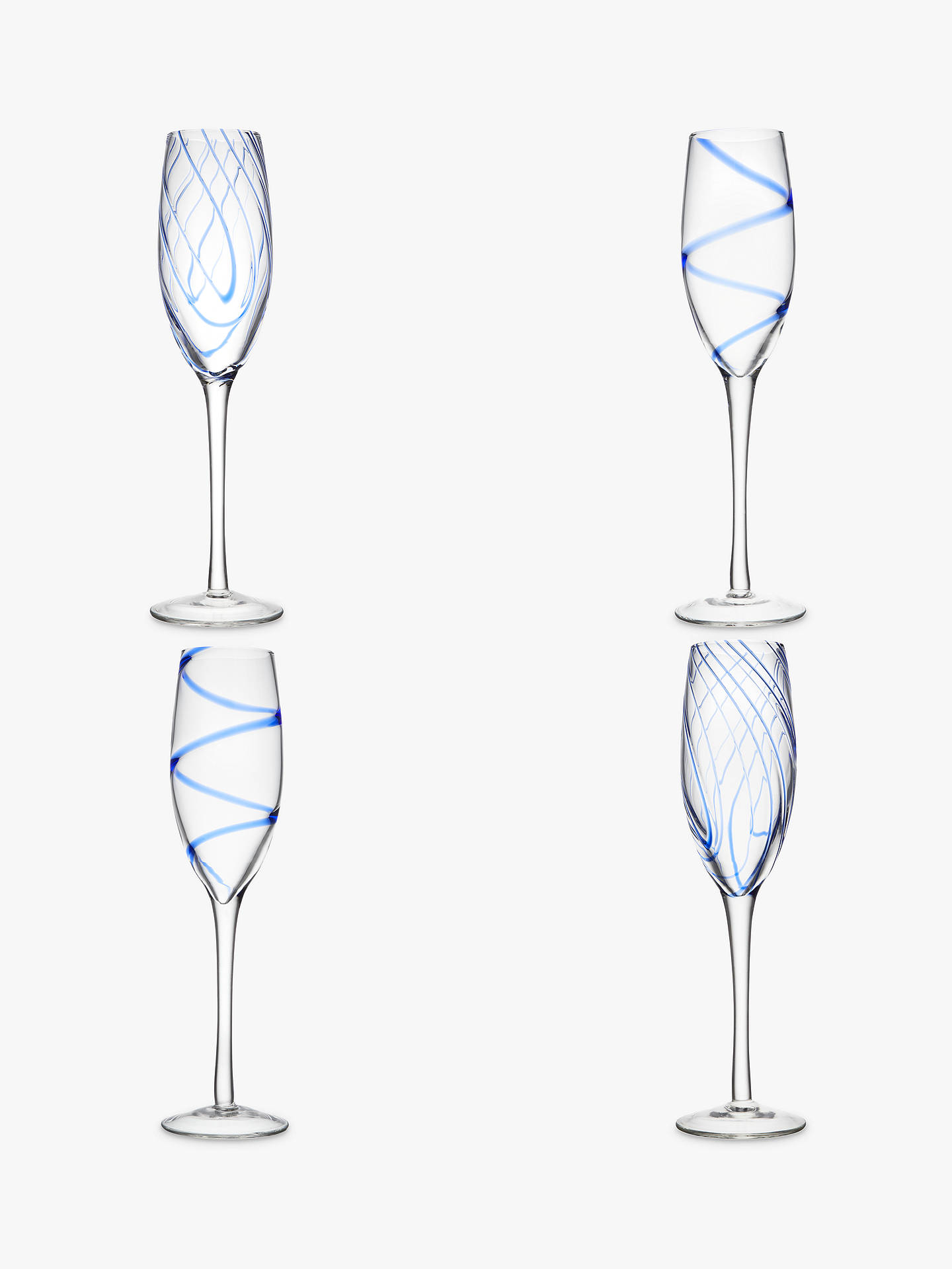 Buy John Lewis & Partners Coastal Champagne Flutes, Assorted, 250ml, Set of 4 Online at johnlewis.com