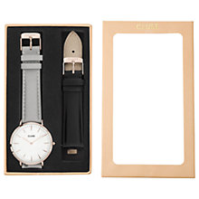 Buy CLUSE CLA001 Women's La Boheme Leather Strap Watch Gift Set, Grey/Black Online at johnlewis.com