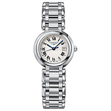 Buy Longines L81104716 Women's Prima Luna Date Bracelet Strap Watch, Silver/White Online at johnlewis.com