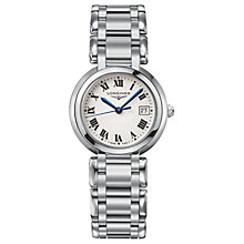 Buy Longines L81124716 Women's Prima Luna Date Bracelet Strap Watch, Silver/White Online at johnlewis.com