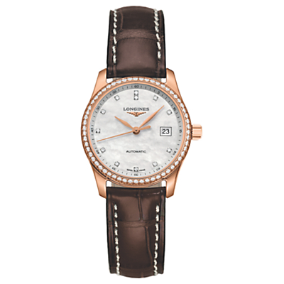 Longines L22579873 Women's Master Collection Rose Gold Automatic Diamond Date Leather Strap Watch, Brown/Mother of Pearl