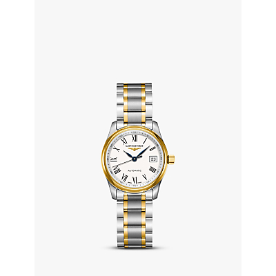 Longines L22575117 Women's Master Collection Automatic Date Bracelet Strap Watch, Silver/Gold