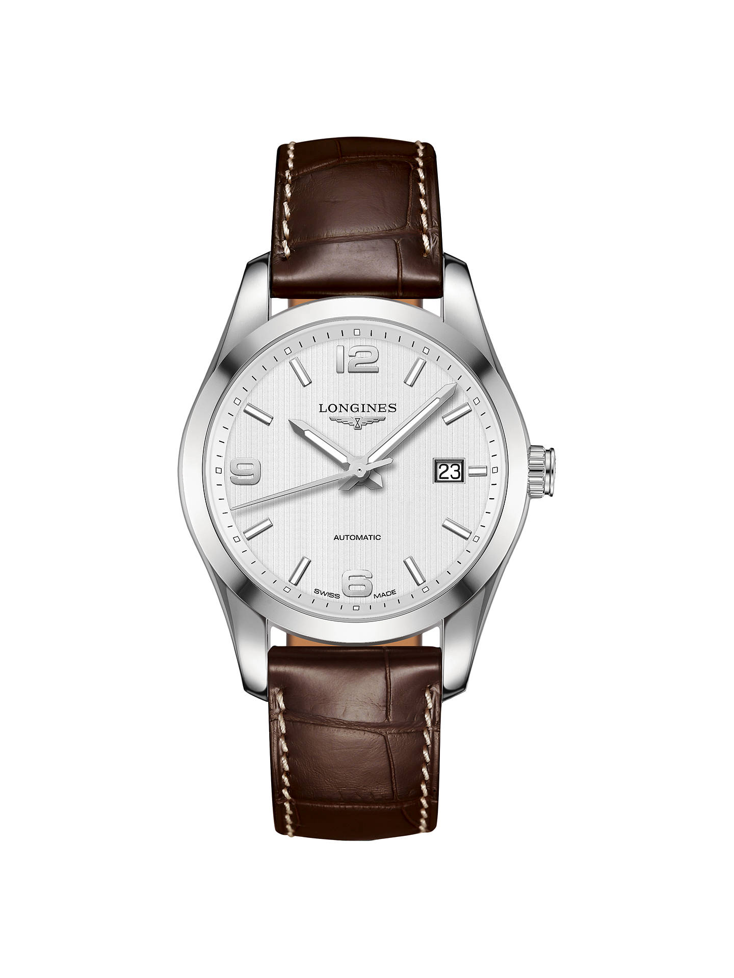 b9e5db80e85 Buy Longines L27854763 Men's Conquest Classic Automatic Date Alligator  Leather Strap, Brown/Silver Online ...