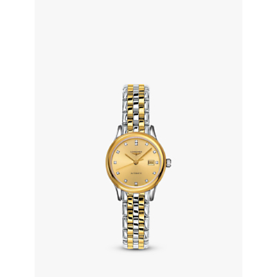 Longines L43743377 Women's Flagship Automatic Diamond Date Two Tone Bracelet Strap Watch, Silver/Gold