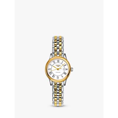 Longines L43743217 Women's Flagship Automatic Date Two Tone Bracelet Strap Watch, Silver/Gold