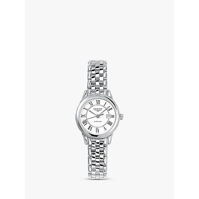 Longines L43744216 Women's Flagship Automatic Date Bracelet Strap Watch, Silver/White