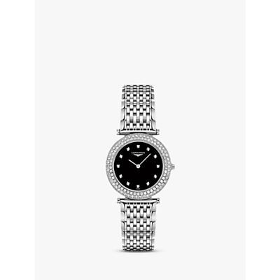 Longines L43080576 Women's La Grande Classique Diamond Bracelet Strap Watch, Silver/Black