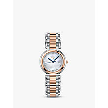 Buy Longines L81125876 Women's Prima Luna Diamond Date Two Tone Bracelet Strap Watch, Silver/Rose Gold Online at johnlewis.com