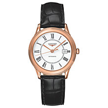 Buy Longines L47748212 Women's Flagship Automatic Date Alligator Leather Strap Watch, Black/White Online at johnlewis.com