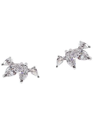 CARAT* London Kira Silver Jacket Stud Earrings, Silver