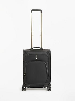 John Lewis & Partners 4-Wheel Noir Luxury 55cm Cabin Suitcase, Black/Gold