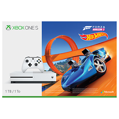 Image of Microsoft Xbox One S Console, 1TB, with Wireless Controller and Forza Horizon 3 Hot Wheels