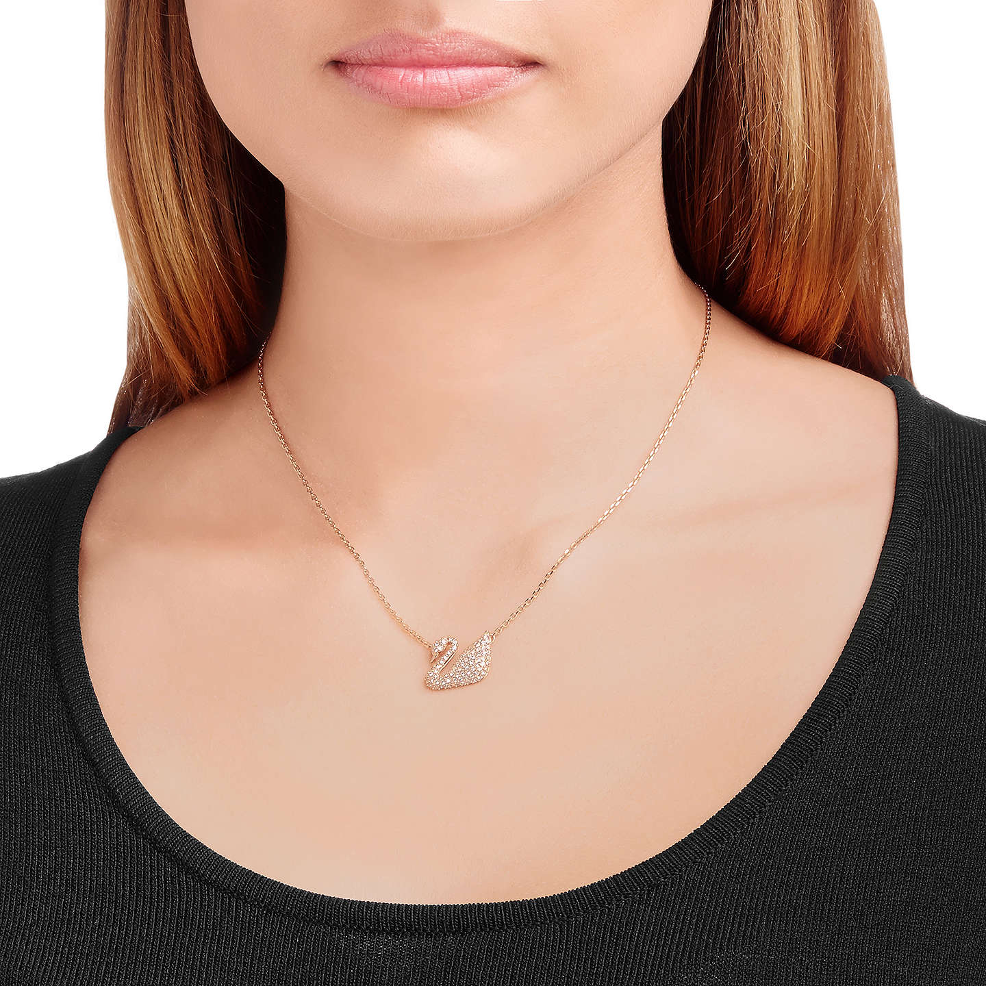 BuySwarovski Swan Crystal Pendant Necklace, Rose Gold Online at johnlewis.com