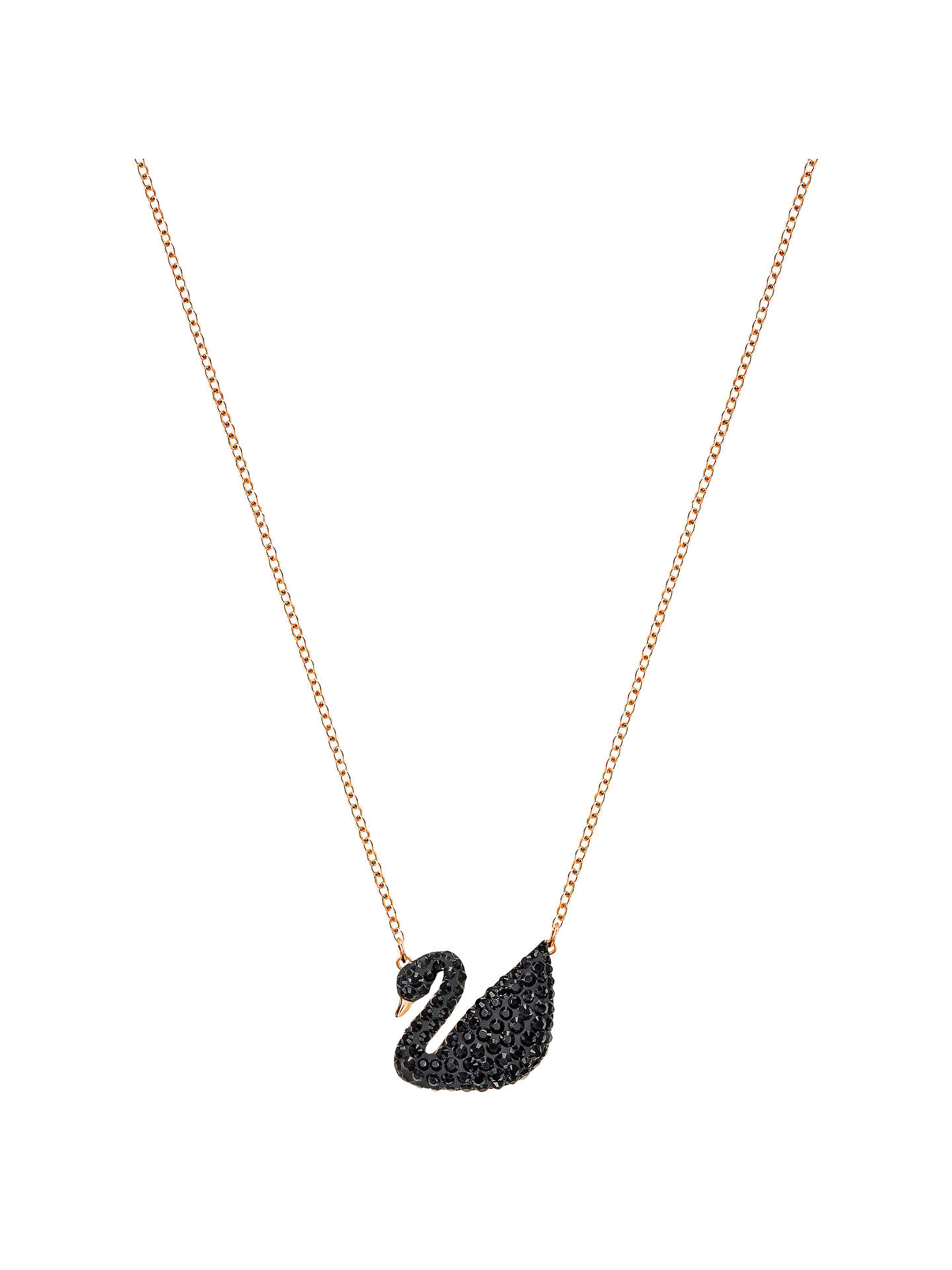 BuySwarovski Icon Swan Crystal Pendant Necklace, Rose Gold/Black Online at johnlewis.com