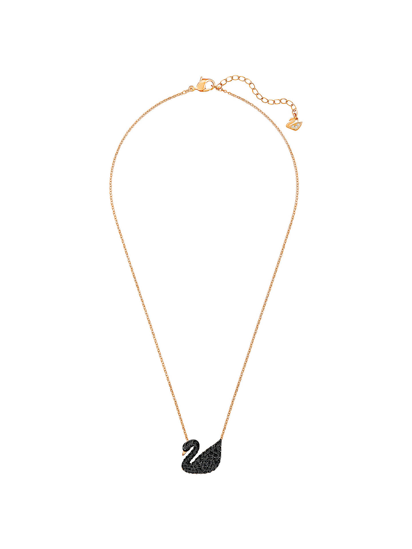 Buy Swarovski Icon Swan Crystal Pendant Necklace, Rose Gold/Black Online at johnlewis.com
