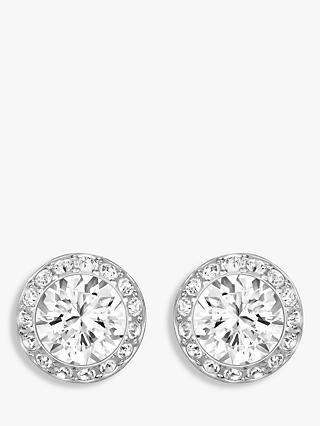 Swarovski Angelic Round Crystal Stud Earrings, Silver/Clear