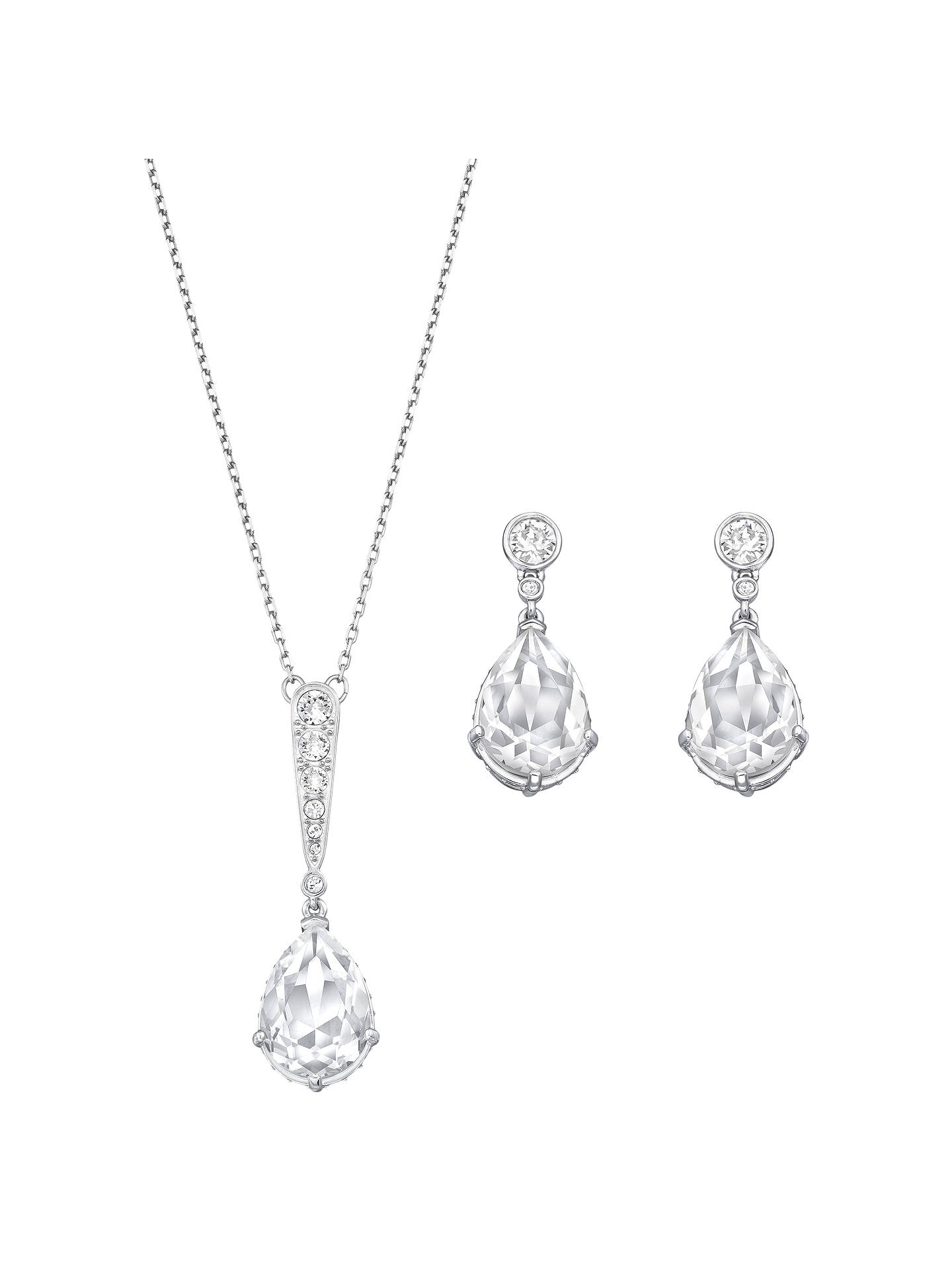 52af98a86 Buy Swarovski Vintage Teardrop Crystal Pendant Necklace and Drop Earrings  Jewellery Gift Set, Silver Online ...