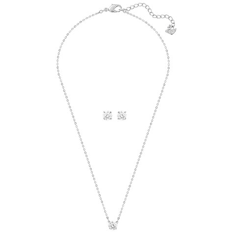 Buy Swarovski Attract Round Crystal Pendant Necklace and Stud Earrings Jewellery Gift Set, Silver Online at johnlewis.com