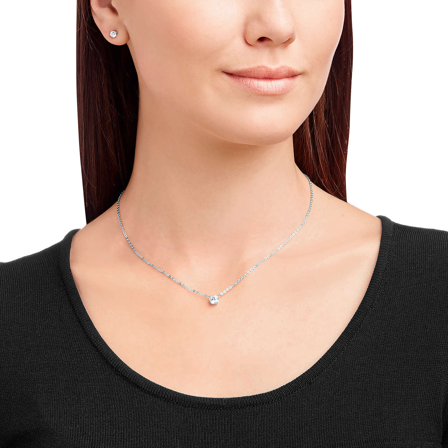 BuySwarovski Attract Round Crystal Pendant Necklace and Stud Earrings Jewellery Gift Set, Silver Online at johnlewis.com