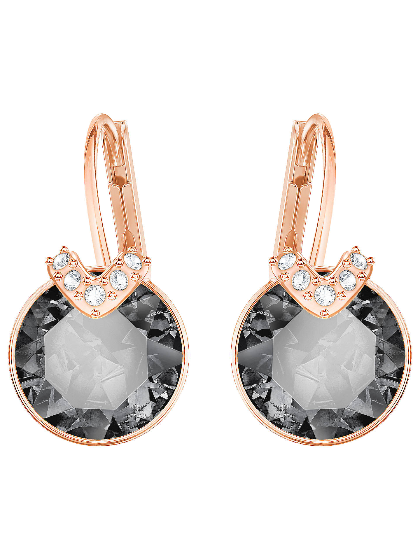 BuySwarovski Bella V Crystal Drop Earrings, Rose Gold/Grey Online at johnlewis.com