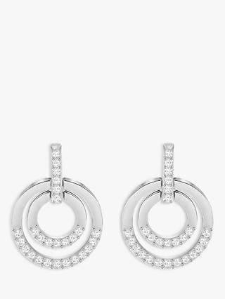 Swarovski Circle Medium Crystal Drop Earrings, Silver