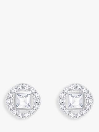 Swarovski Angelic Square Crystal Stud Earrings, Silver/Clear
