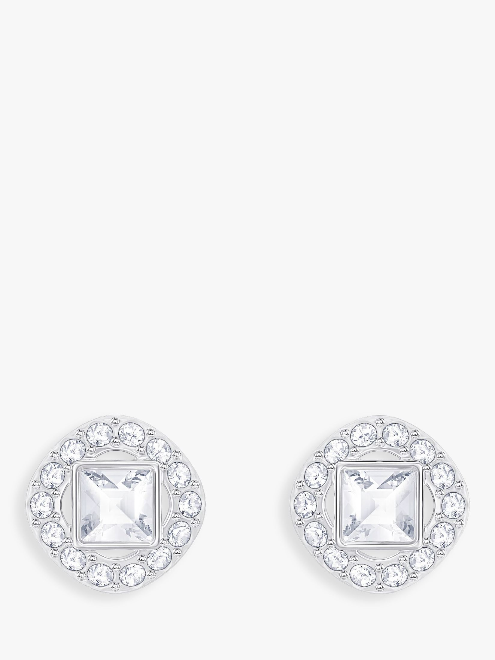 Swarovski Swarovski Angelic Square Crystal Stud Earrings, Silver/Clear