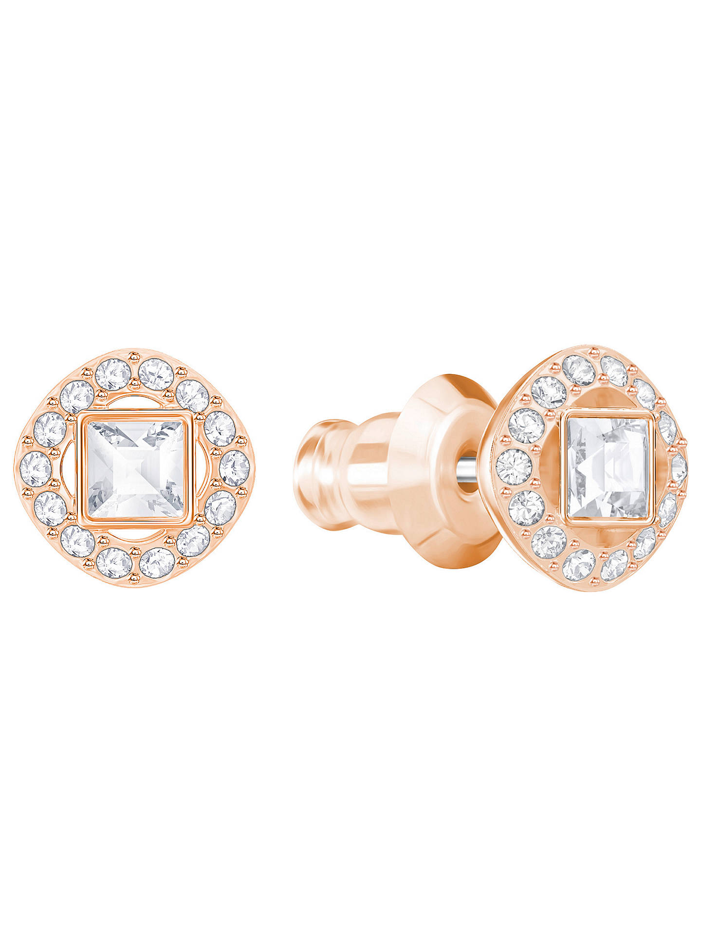 c7001a6b0a9fb Swarovski Angelic Square Crystal Stud Earrings, Rose Gold/Clear