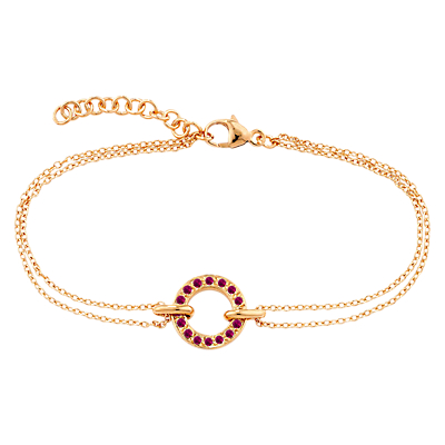 London Road 9ct Rose Gold Ruby Circle Charm Meridian Bracelet