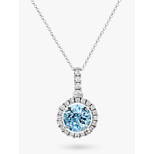 Buy EWA 18ct White Gold Diamond Cluster Pendant Necklace, Aquamarine Online at johnlewis.com