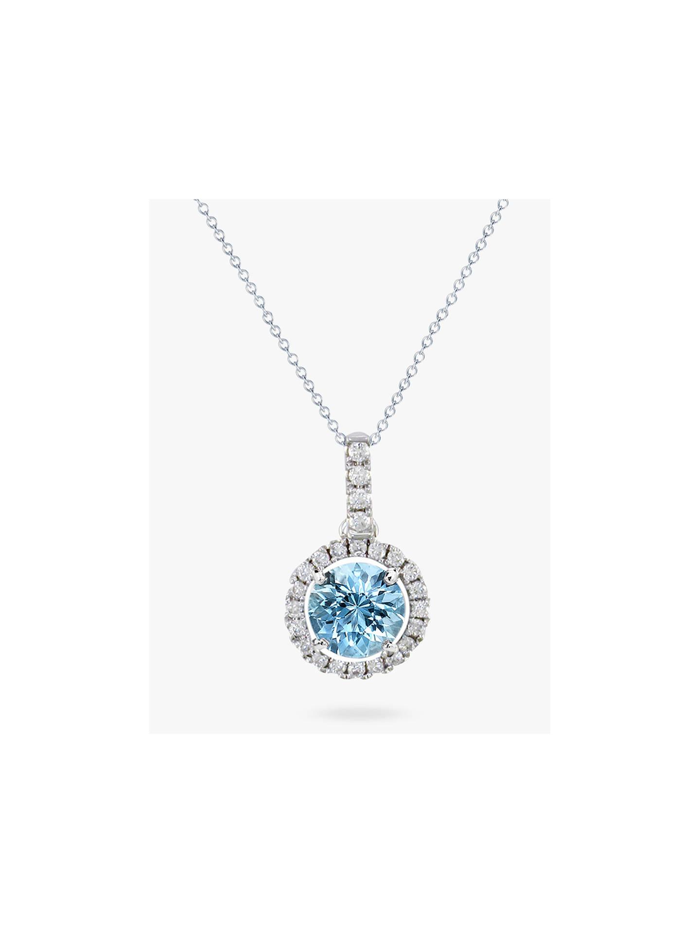 f27ee3fd3f6db8 Buy E.W Adams 18ct White Gold Diamond Cluster Pendant Necklace, Aquamarine Online  at johnlewis.