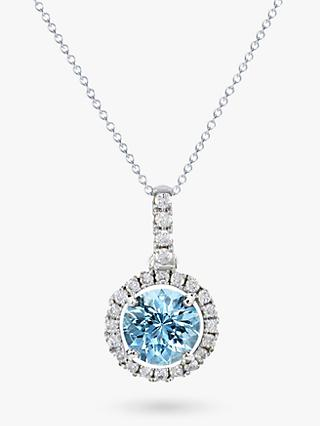 E.W Adams 18ct White Gold Diamond Cluster Pendant Necklace, Aquamarine