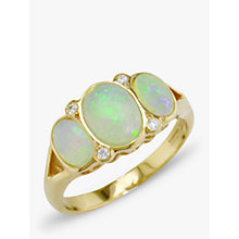 Buy EWA 9ct Yellow Gold Opal and Diamond Cocktail Ring Online at johnlewis.com