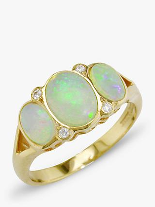 E.W Adams 9ct Yellow Gold Opal and Diamond Cocktail Ring